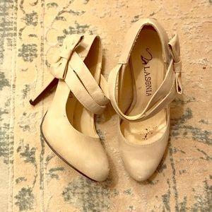 Nude Lasonia Heels with Bow Velcro Strap